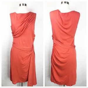 Diane Von Furstenberg Orange Ruched Dress 12
